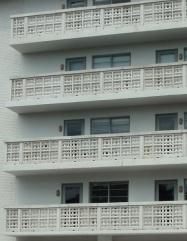 Openwork brick balcony