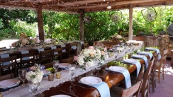 Outdoor wedding dinner layout and decor